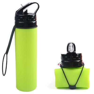 Folding összehajtható 600ml-es BPA mentes szilikon kulacs zöld színben